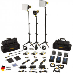 DedoLight Master Kit Led Entrevistas 3 Luces Bi Color DLED3 TURBO con V-Mount