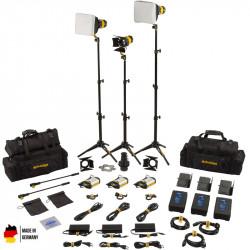 DedoLight Master Kit Led Entrevistas 3 Luces Bi Color DLED3 TURBO con V-Mount