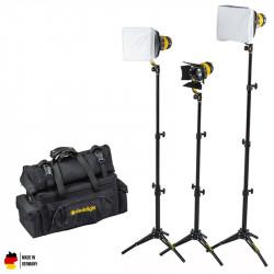 DedoLight Standard Kit Led Entrevistas 3 Luces Bi Color DLED3 TURBO