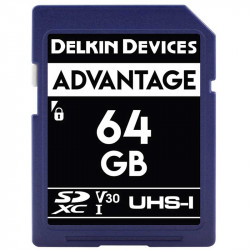 Delkin Devices Advantage SDXC 64GB V30 UHS-I U3 Lectura 90MB/s / 90MBs