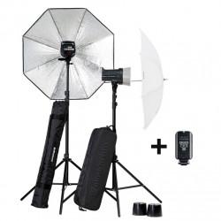 Elinchrom Kit de 2 Flash D Lite de 200W + 200w con Sombrillas y Maleta