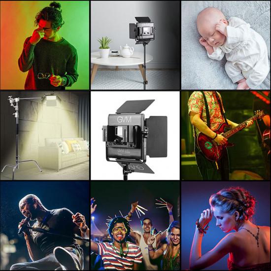 GVM 800D-RGB-3L Kit de 3 LED Soft Light Compacta Bi-Color & RGB