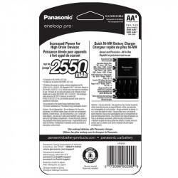 Panasonic Eneloop AA  4-Baterías Ni-MH con Cargador Rapido 2550 mAh