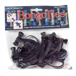 Bongo Ties Grip para Organizar Cables Pin negro Rubber Pack de 10