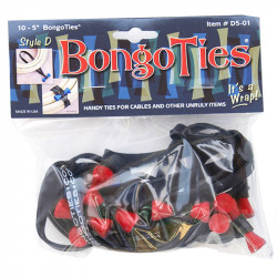 Bongo Ties Grip para Organizar Cables Pin Rojo Rubber Pack de 10