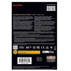 SanDisk SDHC/SDXC Extreme Pro 128 GB C10, U3, V30, 4K UHD 90MB/s/170MB/s