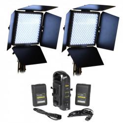 Selecon 2 Kit Led Panel para Estudio o exteriores con 2 baterías V-Mount