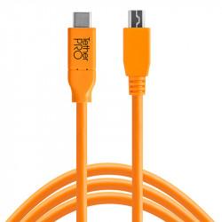 Tether Tools CUC2615ORG Cable USB-C a USB Mini B 8pin de 4.6mts