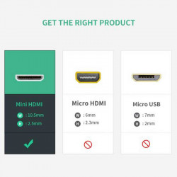 Ugreen Cable Mini HDMI macho a HDMI standard female (hembra) 4K