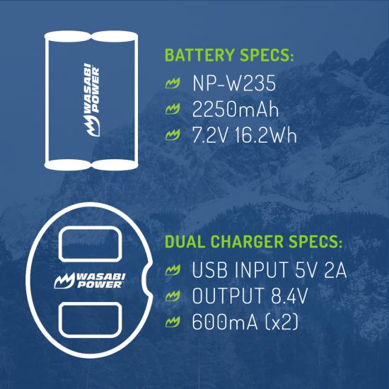 Wasabi Kit Cargador doble y 2 Baterías Serie NPW235 para Fujifilm
