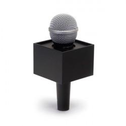 """Benchmark R300225B Portalogo """"Micflag"""" Negro Rectangular para Micrófono de mano 7,62cm x 5,70cm"""