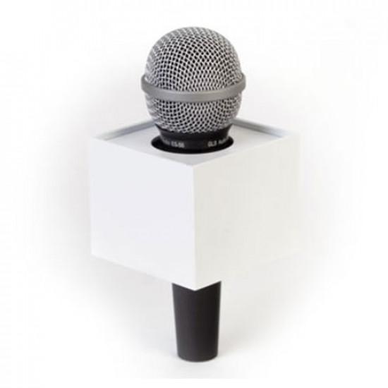 """Benchmark R300275W Portalogo """"Micflag"""" Blanco Rectangular para Micrófono de mano 7,62cm x 7cm"""